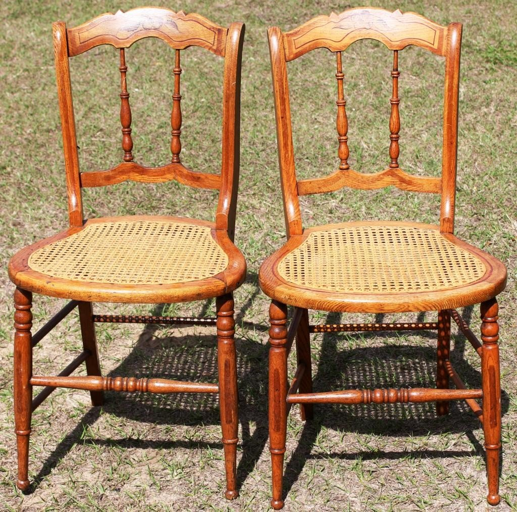 257: PAIR OF 19TH C. CANE SEAT BEDROOM CHAIRS,
