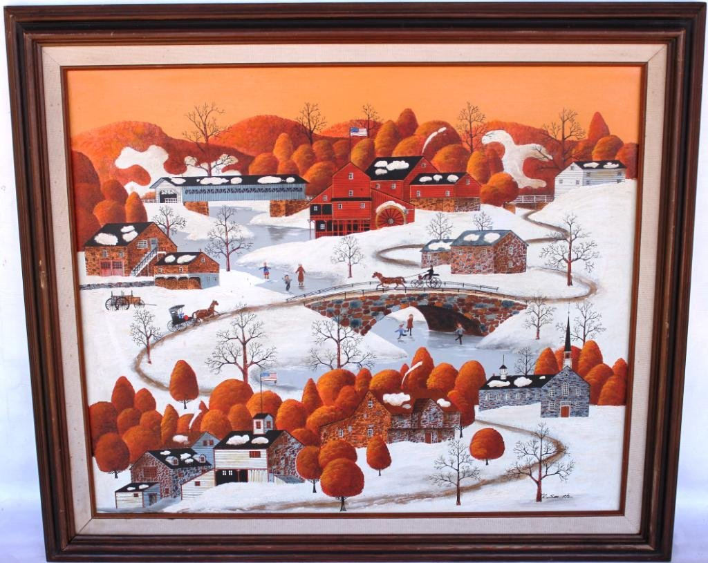 2: TWO CONTEMPORARY FOLK ART PAINTINGS,