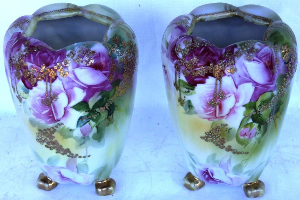 8: PAIR OF NIPPON FOOTED VASES, WITH