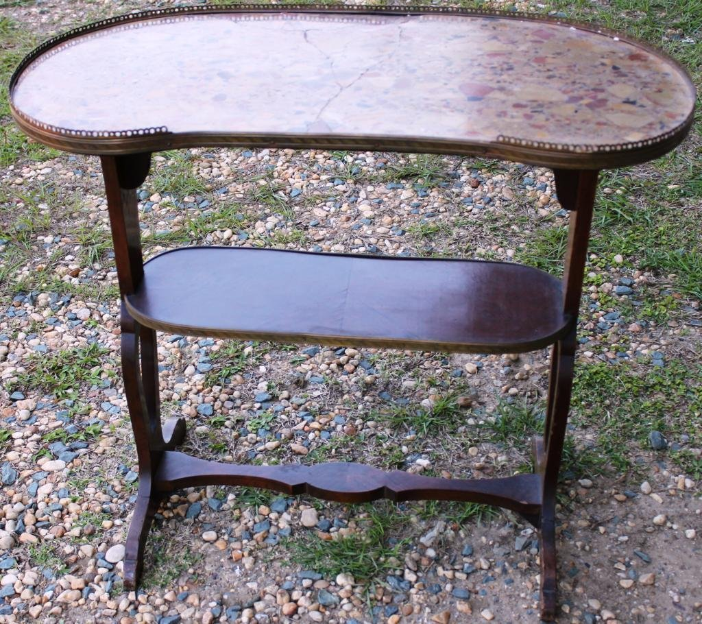 15: FRENCH STYLE KIDNEY SHAPED TWO TIER TABLE