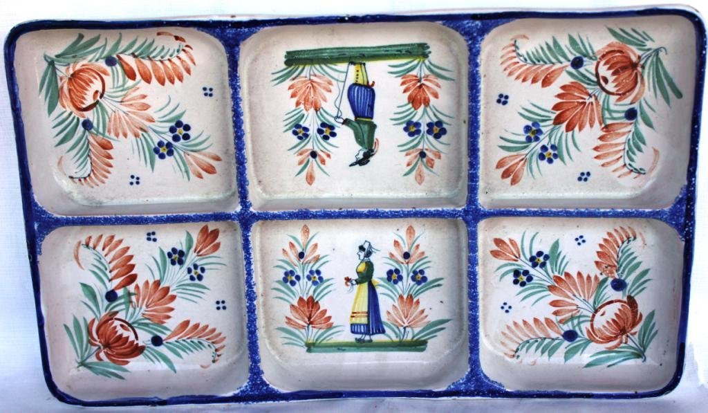 16: UNUSUAL QUIMPER DIVIDED DISH, 6 SECTIONS