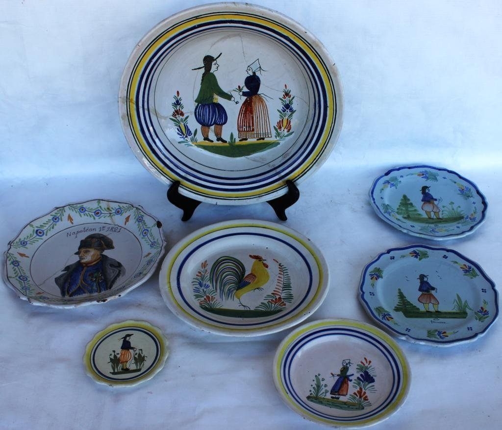 17: COLLECTION OF SEVERAL MISC. QUIMPER PLATES,