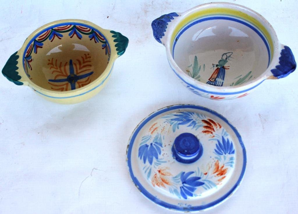 18: TWO QUIMPER HANDLED BOWLS, ONE WITH COVER