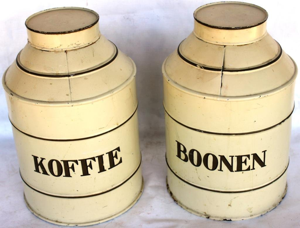 22: PAIR OF EUROPEAN TIN CANISTERS, OLD