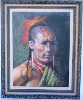 OIL ON CANVAS, DEPICTING NATIVE AMERICAN WARRIOR,