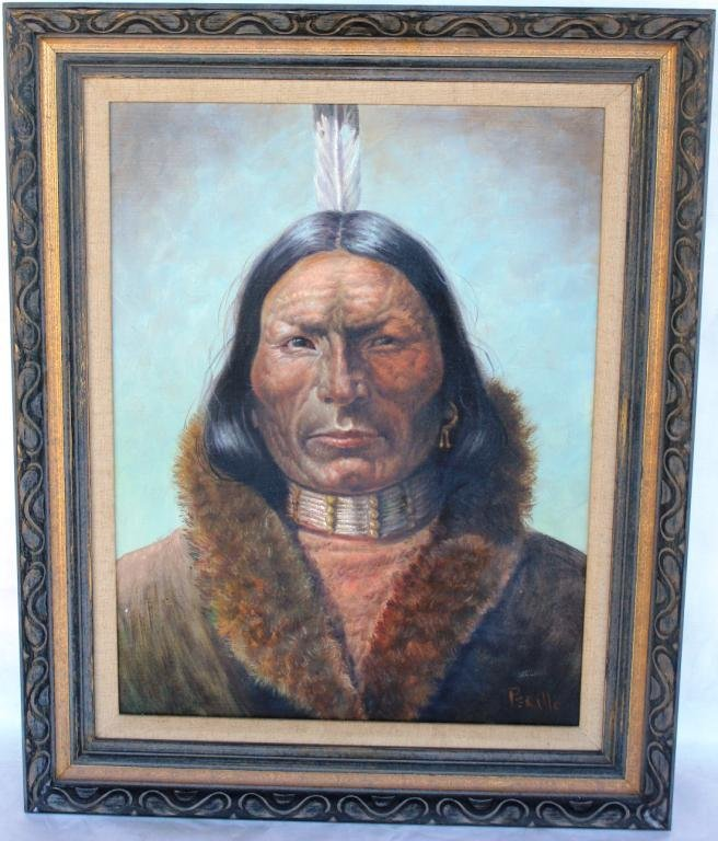 89: OIL CANVAS, DEPICTING NATIVE AMERICAN WITH