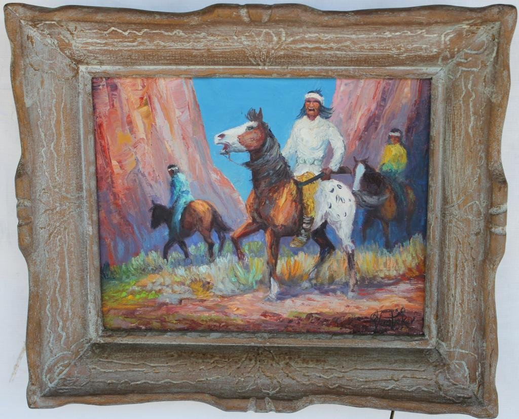 91: FRAMED OIL ON CANVAS, WESTERN SCENE WITH