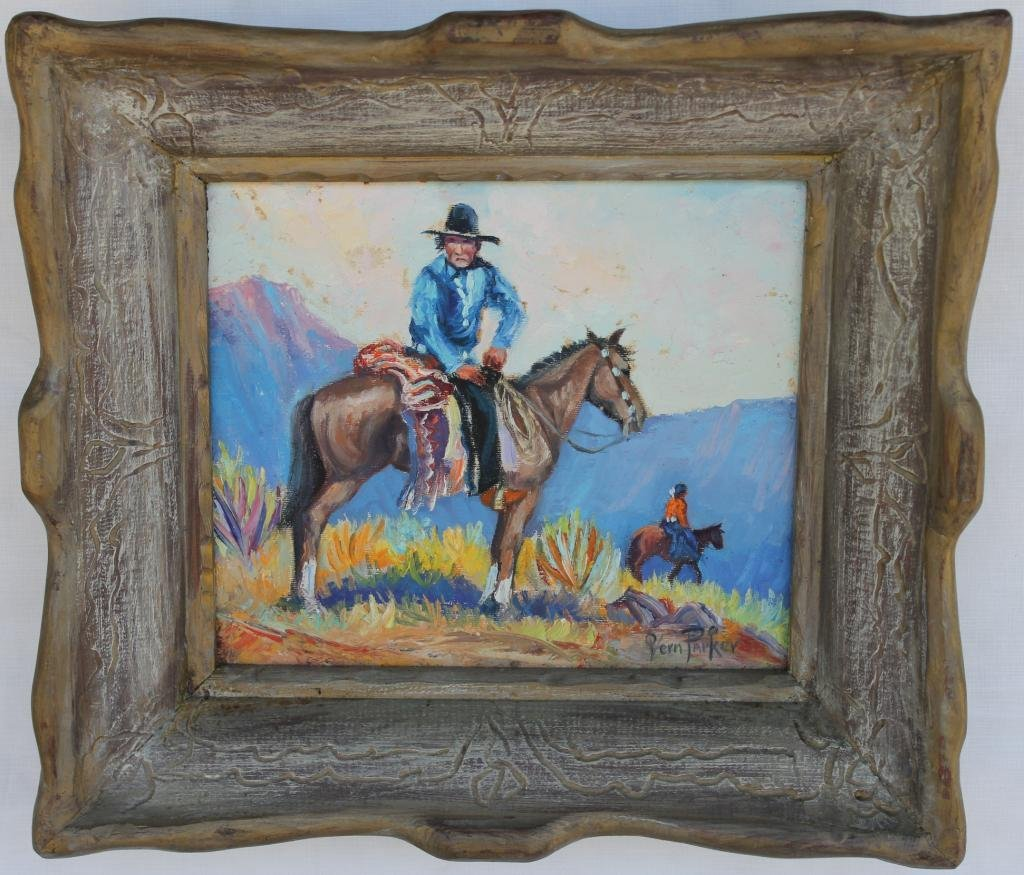 92: FRAMED OIL ON CANVAS, WESTERN SCENE WITH