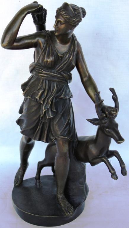 96: LATE 19TH C. BRONZE FIGURE OF DIANA THE HUNTRESS,