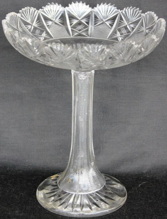 101: TALL CUT GLASS COMPOTE, SIGNED HAWKES