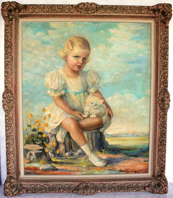 111: LARGE OIL ON CANVAS DEPICTING YOUNG GIRL
