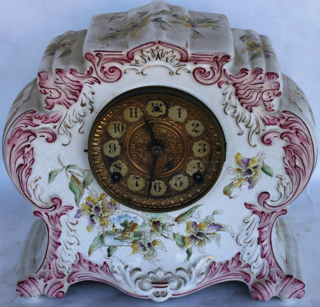 112: LATE VICTORIAN PORCELAIN CLOCK, ORNATE BRASS