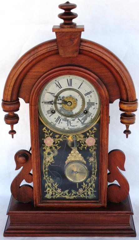 123: VICTORIAN WALNUT SHELF CLOCK, WITH