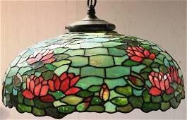 193: EARLY 20TH C. LEADED GLASS HANGING LAMP