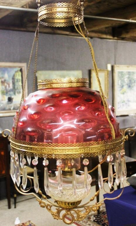 18A: LATE 19TH BRASS FRAME HANGING LAMP,