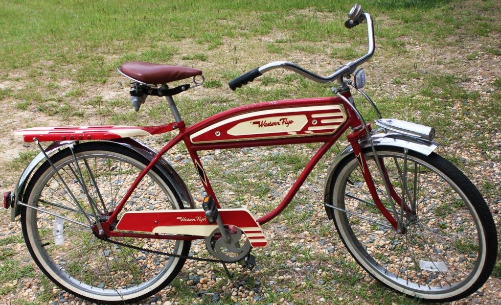 1A: 1A: RED & WHITE WESTERN FLYER BOY'S BICYCLE,