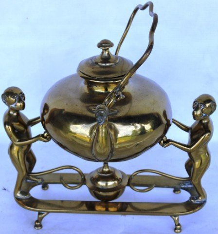 6: UNUSUAL CAST BRASS KETTLE ON STAND,