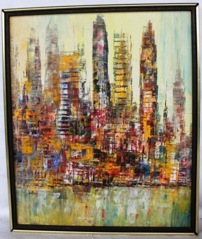 8: 20TH C. OIL ON CANVAS, CITYSCAPE SIGNED HIBBLEN,