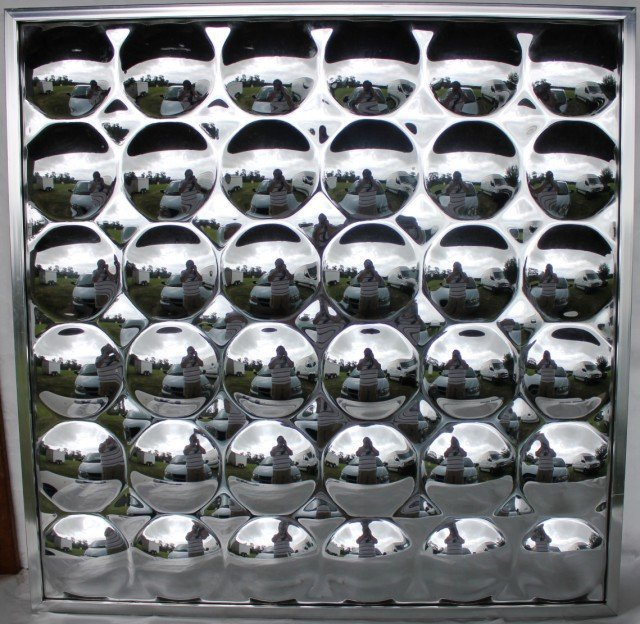 11: LATE MID CENTURY CONVEX MIRROR WALL HANGING,