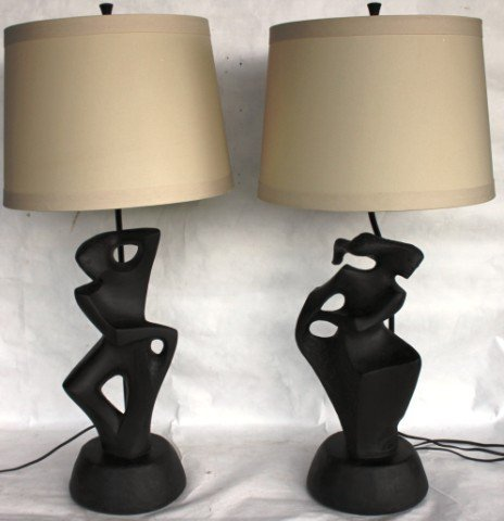 12: PAIR OF MID CENTURY FIGURAL LAMPS DEPICTING
