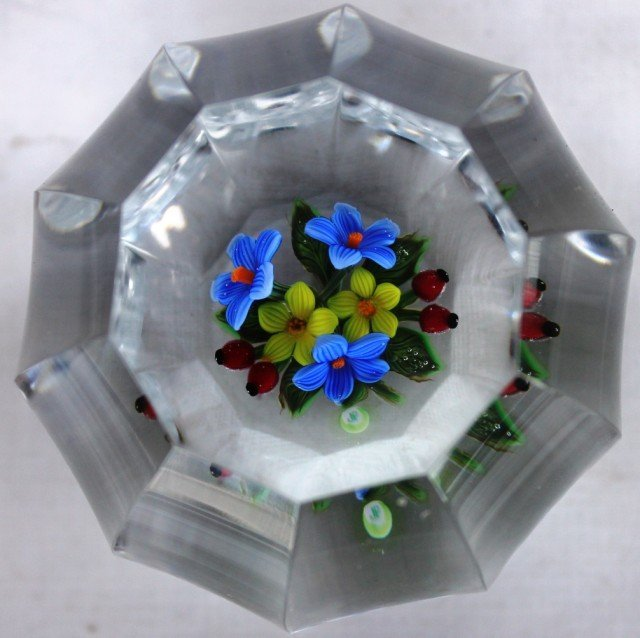 69: CUT & FACETED BLOWN PAPERWEIGHT WITH