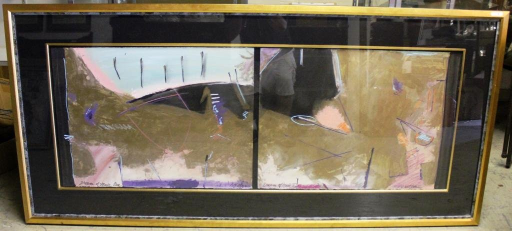 8: LARGE CONTEMPORARY PAINTED TWO PANEL PAINTING,