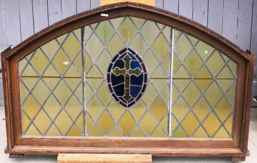 9: LARGE FRAMED LATE 19TH C. STAINED GLASS WINDOW,