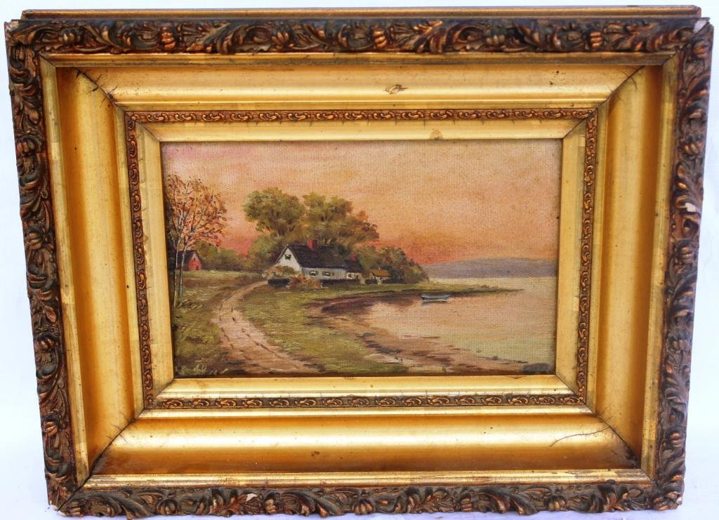 12: OIL ON CANVAS, SHORE LINE WITH HOUSE,