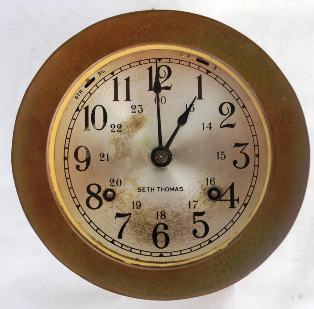 13: BRASS SETH THOMAS SHIPS CLOCK,