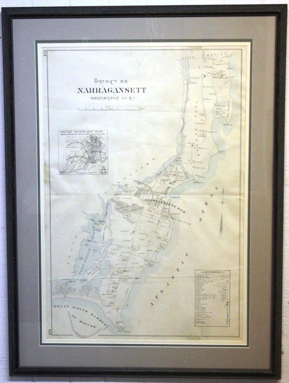 17: LARGE FRAMED & GLAZED MAP OF NARRAGANST R.I.