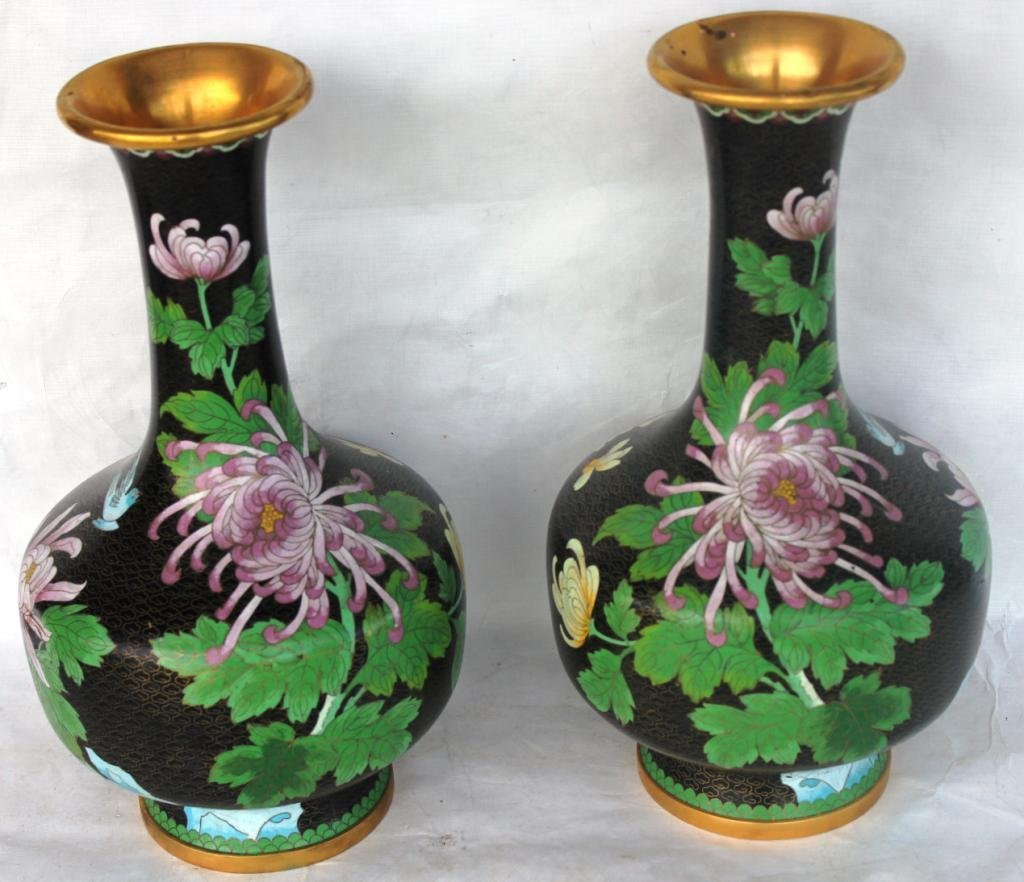 21: PAIR OF 20TH C. TALL CLOISONNE VASES WITH