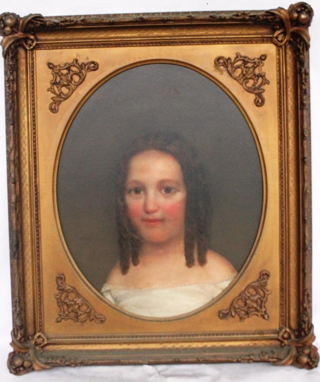 24: 19TH C. FRAMED OIL ON CANVAS, PORTRAIT OF