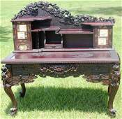 100: EXCEPTIONAL CARVED ORIENTAL STYLE DESK,