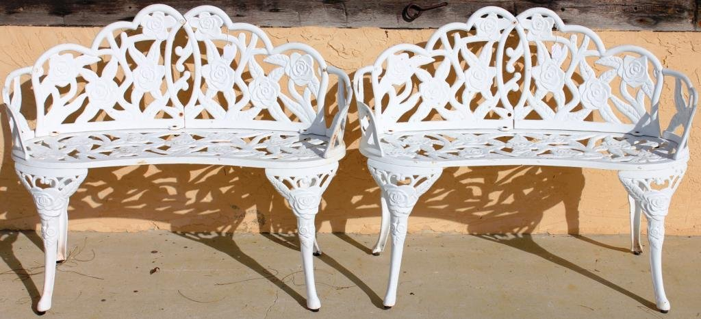 4: PAIR OF CAST METAL BENCHES, FLORAL DESIGN,