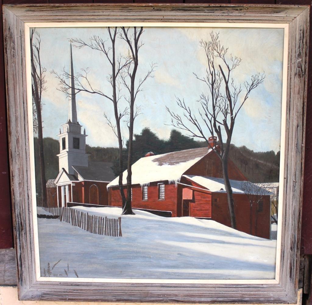 8: OIL ON ARTIST BOARD, CHURCH IN WINTER SCENE,
