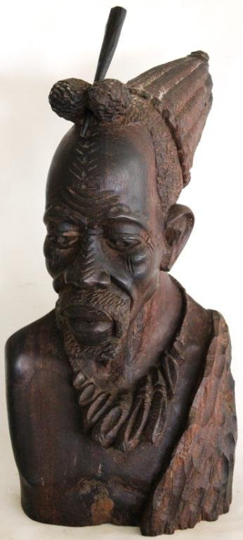 9: QUALITY CARVED WOODEN BUST OF AFRICAN MAN,