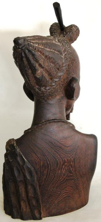 9: QUALITY CARVED WOODEN BUST OF AFRICAN MAN, - 2