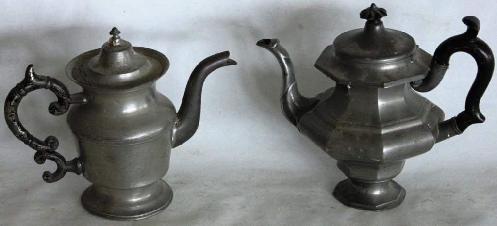 11: TWO 19TH C. PEWTER TEA POTS,