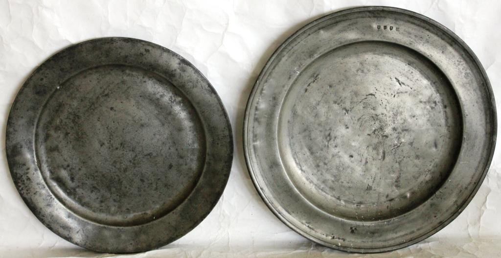 """12: TWO EARLY PEWTER CHARGERS, 18 1/4"""" & 16 1/2"""" DIA."""