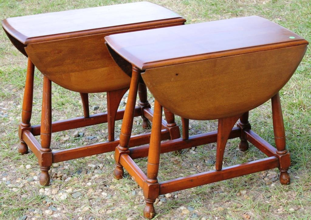 13: PAIR OF CUSTOM MAPLE BUTTERFLY DROP LEAF TABLES,