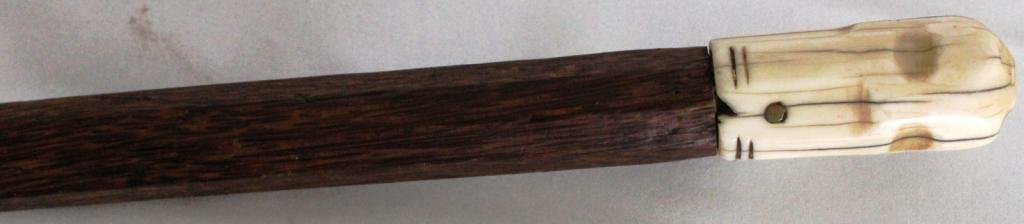 19: 19TH C. WALKING STICK WITH CARVED WHALE BONE TOP,