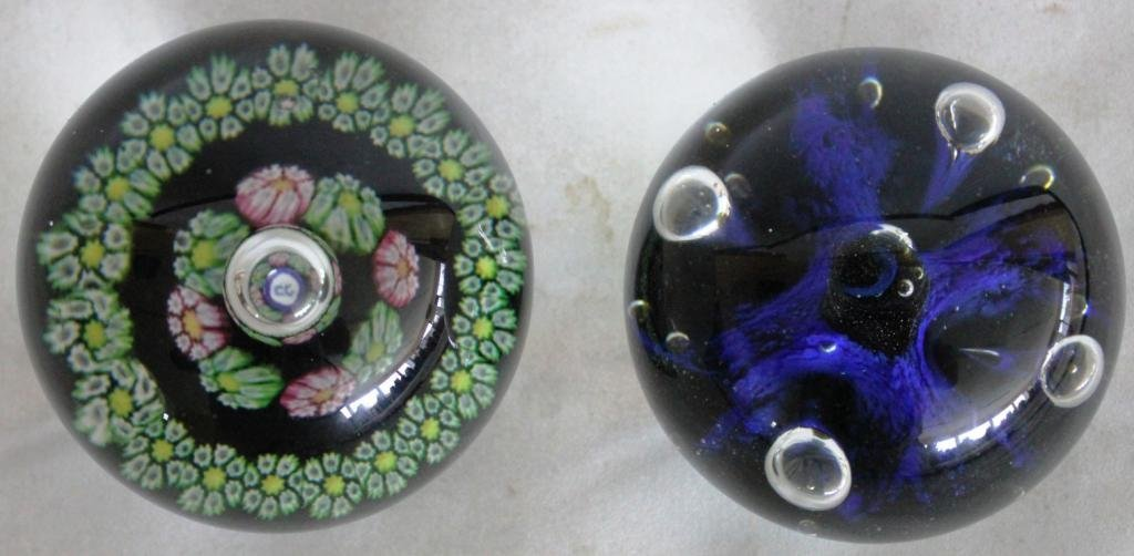 21: TWO SIGNED ART GLASS PAPERWEIGHTS BY