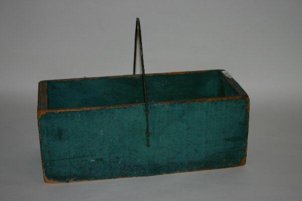 3: Green Painted Wooden Carrier