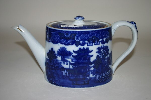 "8: Flow Blue ""Willow"" Teapot"