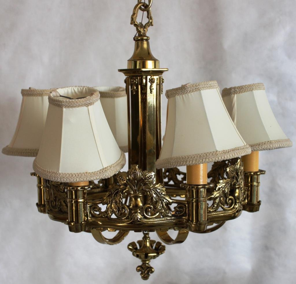 HEAVY CAST BRASS 6 LIGHT CHANDELIER
