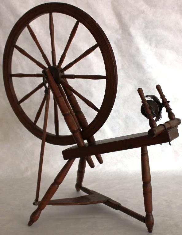 19TH C. MIXED WOOD FLAX WHEEL,