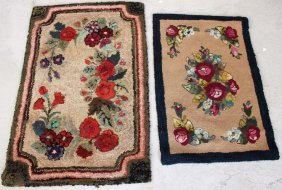 2 HAND HOOKED FLORAL DECORATED RUGS