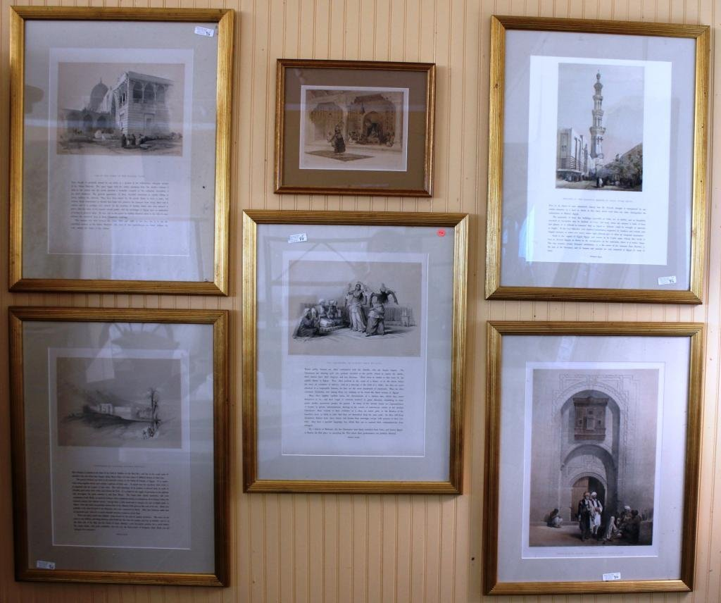 LOT OF 6 FRAMED & GLAZED BOOK PRINTS,