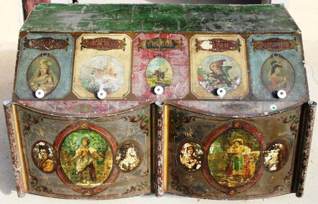 19TH C. PAINTED TIN 5 COMPARTMENT TEA DISPENSER,