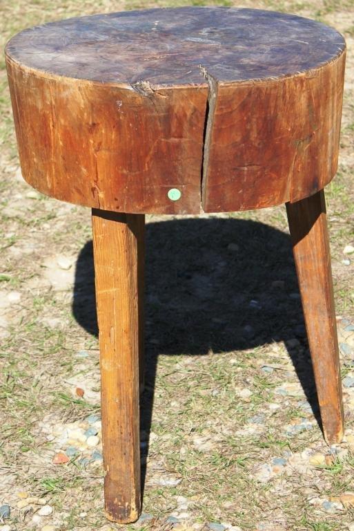 PRIMITIVE ROUND 3 LEG BUTCHER BLOCK TABLE,